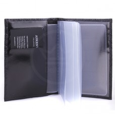 """Обложка для автодокументов натуральная кожа """"  CrocoNile""""   BV.2/1.KR.черный,    4 внут карм"""