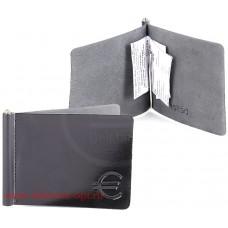 Зажим для купюр н/к-Z.7SH.черный,    тисн Евро,    откидная фурнитура