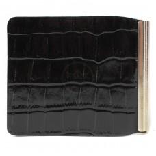 Зажим для купюр Premier-Z-1    (зажим-скрепка)    натуральная кожа черный крокодил   (101)