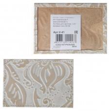 Обложка пропуск/карточка/проездной Premier-V-41 натуральная кожа бежевый пион   (128)