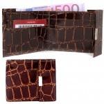 Портмоне мужское Premier-М-502 натуральная кожа 1 отд,    4 карм,    коричневый темный крокодил крупный   (3)
