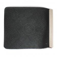Зажим для купюр Premier-Z-1    (зажим-скрепка)    натуральная кожа черный сафьян матовый   (589)