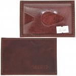 Обложка пропуск/карточка/проездной Croco-В-200 натуральная кожа коричневый пулл-ап   (152)