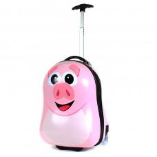 """Чемодан силуэт """"  Свинка""""   45*25*32 пластик,    розовый"""