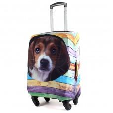 "Чехол для чемодана 28-L""     (28""  -113л) ,    полиэстер 100%,       (Собака)    коричневый"