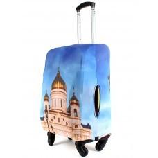 "Чехол для чемодана 24-M""     (24""  -70л) ,    полиэстер 100%,       (Собор)    голубой"