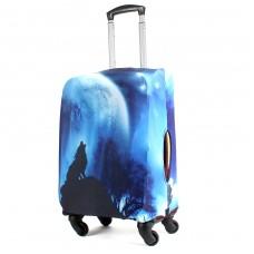 "Чехол для чемодана 24-M""     (24""  -70л) ,    полиэстер 100%,       (Волк)    синий"