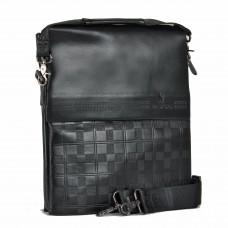 Сумка мужская иск/кожа+нат/кожа BF-916-5-3В,    3отд,    2внеш+5внут карм,    плечевой ремень,    черный