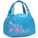 Сумка дорожная SilverTop-4195 Транзит,    б/подклада,    жесткое дно,    ножки,       (цветы)    голубой/серый