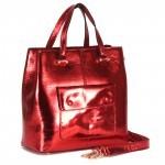 Сумка женская натуральная кожа RM-H-3436,    1отд+карм/пер,    плечевой ремень,    металик красный